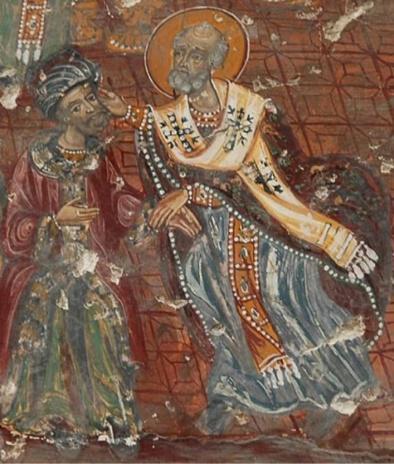 Ο Άγιος Νικόλαος ραπίζει τον Άρειο. Μοναστήρι Σουμελά Tραπεζούντα