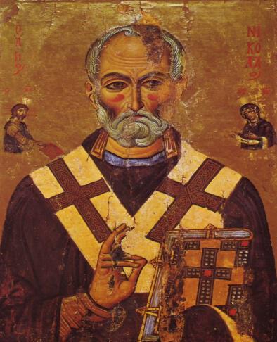 Άγιος Νικόλαος, με Ιησού και Παναγία προσφέροντές του ευαγγέλιο και ωμοφόριο. 13ος αιών, Αγία Αικατερίνη Σινά