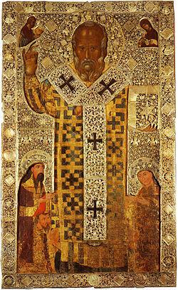 Άγιου Νικολάου εικονίδιο, δωρεά του Σέρβου τσάρου Στέφανου Ούρος ΙΙΙ, 1327, Βασιλική Αγ.Νικολάου Μπάρι